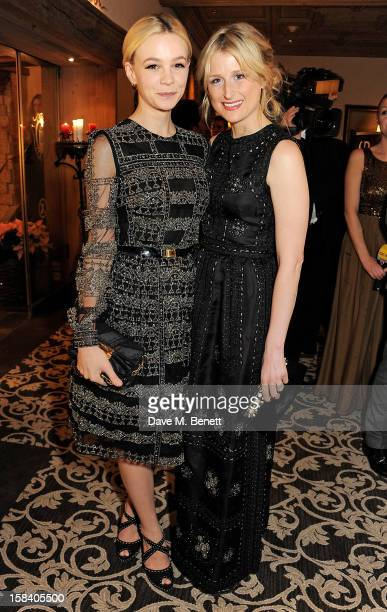 Carey Mulligan and Mamie Gummer attend the ASMALLWORLD Gala Dinner for the Alzheimer's Society at The Gstaad Palace Hotel on December 15 2012 in...