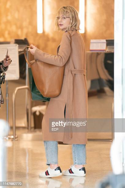 Carey Mulligan arrives at JFK Airport on May 7, 2019 in New York City.