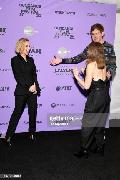 Carey Mulligan Bo Burnham and Alison Brie attend the 2020 Sundance Film Festival Promising Young Woman Premiere at The Marc Theatre on January 25...