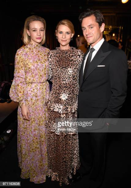 Carey Mulligan Claire Danes and Hugh Dancy pose backstage during the 72nd Annual Tony Awards at Radio City Music Hall on June 10 2018 in New York City