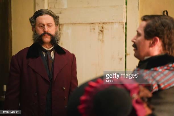 "Carey Mulligan"" Episode 1802 -- Pictured: Alex Moffat during the ""Movie Trailer"" sketch on Saturday, April 10, 2021 --"