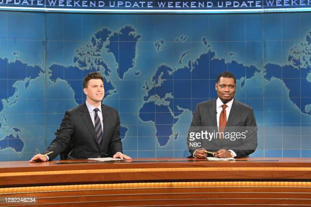 """Carey Mulligan"""" Episode 1802 -- Pictured: Anchor Colin Jost and anchor Michael Che during Weekend Update on Saturday, April 10, 2021 --"""