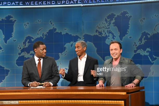 """Carey Mulligan"""" Episode 1802 -- Pictured: Anchor Michael Che, Chris Redd as Barack Obama, and Beck Bennett as Bruce Springsteen during Weekend Update..."""