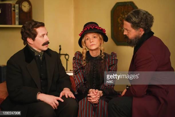 "Carey Mulligan"" Episode 1802 -- Pictured: Beck Bennett, host Carey Mulligan, and Alex Moffat during the ""Movie Trailer"" sketch on Saturday, April 10,..."