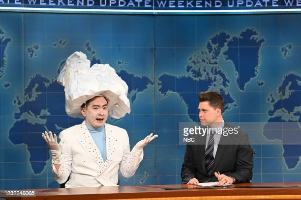 """Carey Mulligan"""" Episode 1802 -- Pictured: Bowen Yang as 'The Iceberg That Sank The Titanic' and anchor Colin Jost during Weekend Update on Saturday,..."""