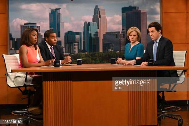"Carey Mulligan"" Episode 1802 -- Pictured: Ego Nwodim, Kenan Thompson, Kate McKinnon, and Alex Moffat during the ""Minnesota News"" Cold Open on..."