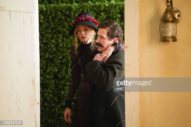 """Carey Mulligan"""" Episode 1802 -- Pictured: Host Carey Mulligan and Beck Bennett during the """"Movie Trailer"""" sketch on Saturday, April 10, 2021 --"""