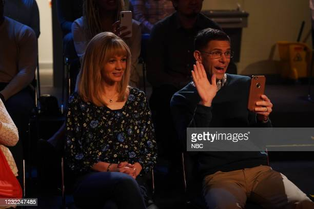 """Carey Mulligan"""" Episode 1802 -- Pictured: Host Carey Mulligan and Mikey Day during the """"IBS Medicine Ad"""" sketch on Saturday, April 10, 2021 --"""