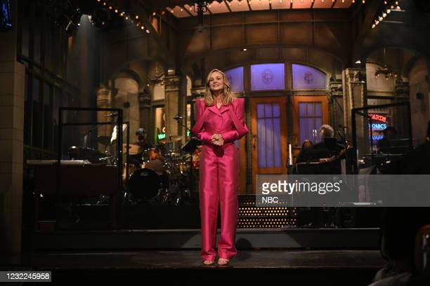 """Carey Mulligan"""" Episode 1802 -- Pictured: Host Carey Mulligan during the Monologue on Saturday, April 10, 2021 --"""