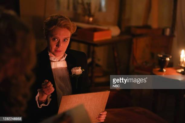"Carey Mulligan"" Episode 1802 -- Pictured: Kate McKinnon during the ""Movie Trailer"" sketch on Saturday, April 10, 2021 --"