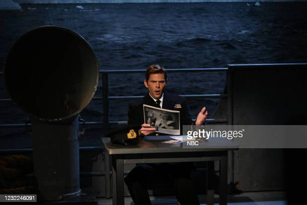 """Carey Mulligan"""" Episode 1802 -- Pictured: Mikey Day as Lt. Bertie Pembrook during the """"War in Words"""" sketch on Saturday, April 10, 2021 --"""
