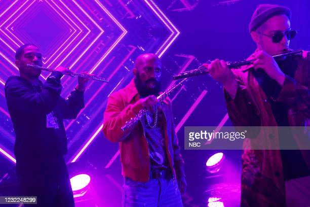 """Carey Mulligan"""" Episode 1802 -- Pictured: Musical guest Kid Cudi, Chris Redd, and Pete Davidson during the """"WLF"""" sketch on Saturday, April 10, 2021 --"""