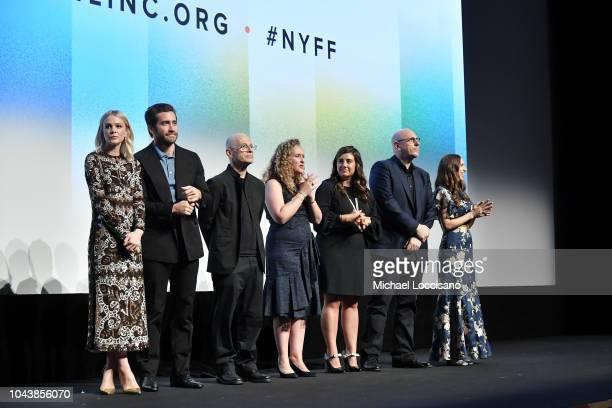 Carey Mulligan Jake Gyllenhaal David Lang Riva Marker Alex Saks Oren Moverman and Zoe Kazan speak at the 'Wildlife' premiere during the 56th New York...