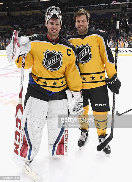 Carey Price and Shea Weber of the Montreal Canadiens pose for a photo during warmup prior to the 2017 Honda NHL AllStar Game at Staples Center on...