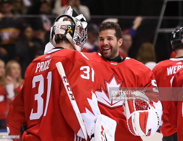 Carey Price celebrates with Corey Crawford of Team Canada after a 60 win over Team Czech Republic during the World Cup of Hockey 2016 at Air Canada...