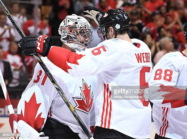 Carey Price celebrates with Shea Weber of Team Canada after a 4-2 win over Team USA during the World Cup of Hockey 2016 at Air Canada Centre on...