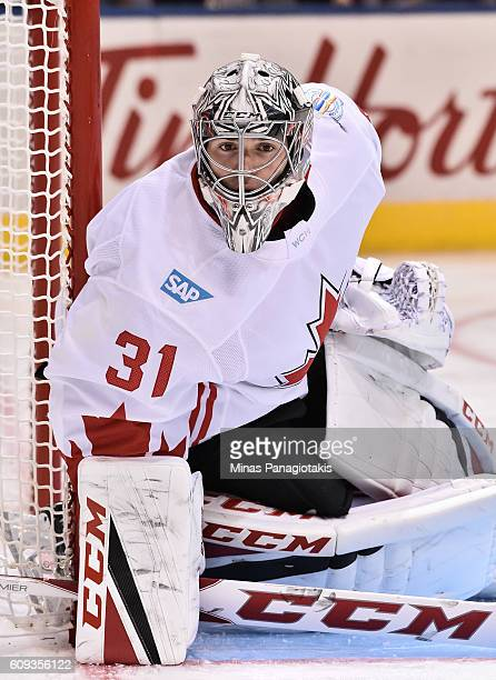 Carey Price of Team Canada guards the net against Team USA during the World Cup of Hockey 2016 at Air Canada Centre on September 20 2016 in Toronto...