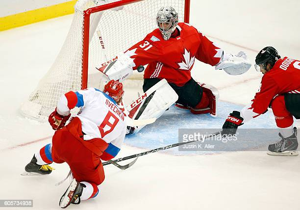 Carey Price of Team Canada makes a save on Alex Ovechkin of Team Russia at Consol Energy Center on September 14, 2016 in Pittsburgh, Pennsylvania.