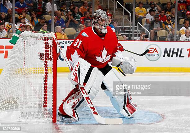 Carey Price of Team Canada protects the net against the Team Russia at Consol Energy Center on September 14 2016 in Pittsburgh Pennsylvania