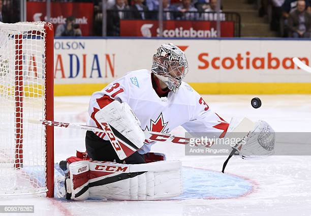 Carey Price of Team Canada reaches for a glove save against Team USA during the World Cup of Hockey 2016 at Air Canada Centre on September 20 2016 in...