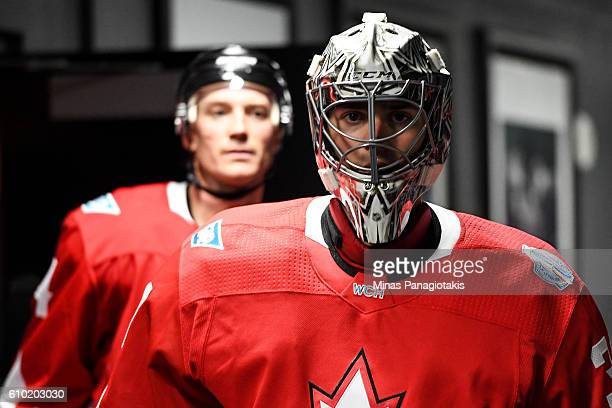 Carey Price of Team Canada walks towards the locker room during the World Cup of Hockey 2016 against Team Russia at Air Canada Centre on September 24...