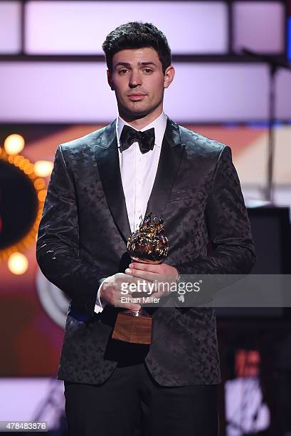 Carey Price of the Montreal Canadiens accepts the Hart Memorial Trophy during the 2015 NHL Awards at MGM Grand Garden Arena on June 24 2015 in Las...