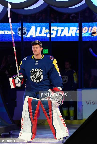 Carey Price of the Montreal Canadiens acknowledges the fans during player introductions prior to the 2018 Honda NHL AllStar Game at Amalie Arena on...