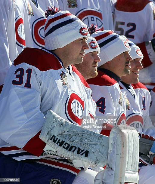 Carey Price of the Montreal Canadiens along with his teammates pose for a team photo prior to their practice session the day before the 2011 NHL...