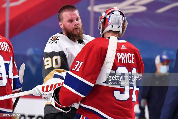 Carey Price of the Montreal Canadiens and Robin Lehner of the Vegas Golden Knights shake hands following the Canadians 3-2 overtime win in Game Six...