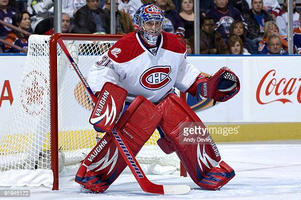 Carey Price of the Montreal Canadiens concentrates on the puck during a game against the Edmonton Oilers on October 10 2009 at Rexall Place in...