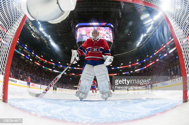 Carey Price of the Montreal Canadiens defends the goal against the Nashville Predators in the NHL game at the Bell Centre on January 5 2019 in...