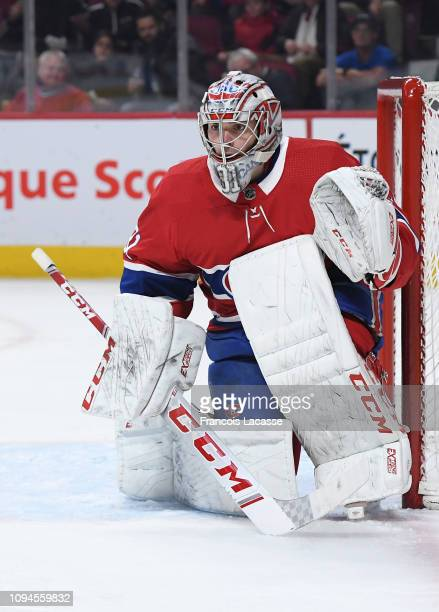 Carey Price of the Montreal Canadiens defends the goal against the Minnesota Wild in the NHL game at the Bell Centre on January 7 2019 in Montreal...