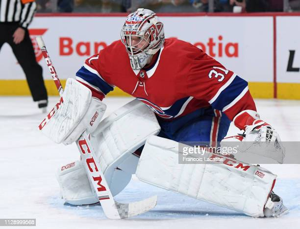 Carey Price of the Montreal Canadiens defends the goal against the Winnipeg Jets in the NHL game at the Bell Centre on February 7 2019 in Montreal...