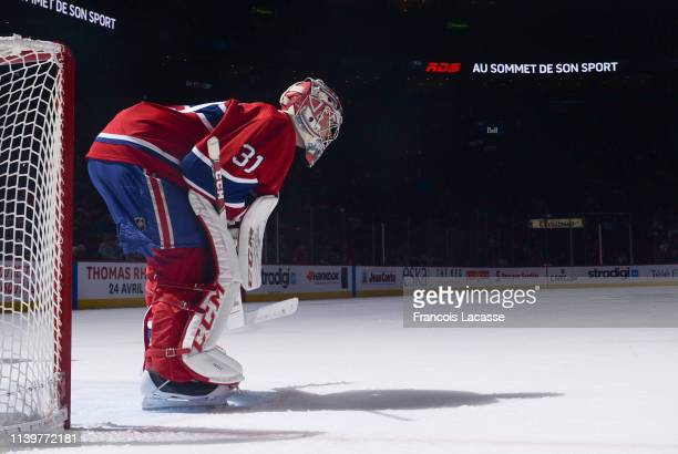 Carey Price of the Montreal Canadiens defends the goal against the Florida Panthers in the NHL game at the Bell Centre on March 26 2019 in Montreal...
