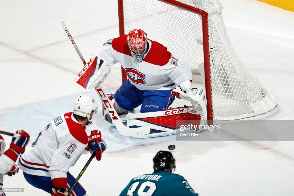 Carey Price #31 of the Montreal Canadiens defends the net during a NHL game against the San Jose Sharks at SAP Center on October 17, 2017 in San Jose, California.