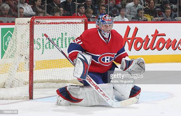 Carey Price of the Montreal Canadiens drops to the butterfly position against the Florida Panthers at the Bell Centre on December 18 2007 in Montreal...
