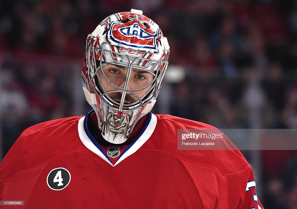 Carey Price #31 of the Montreal Canadiens during the game against the Tampa Bay Lightning in Game Five of the Eastern Conference Semifinals during the 2015 NHL Stanley Cup Playoffs at the Bell Centre on May 1, 2015 in Montreal, Quebec, Canada.