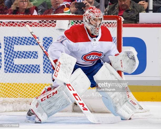 Carey Price of the Montreal Canadiens follows the play against the Detroit Red Wings during an NHL game at Little Caesars Arena on February 18, 2020...