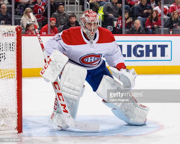 Carey Price of the Montreal Canadiens follows the play during an NHL game against the Detroit Red Wings at Little Caesars Arena on February 18, 2020...