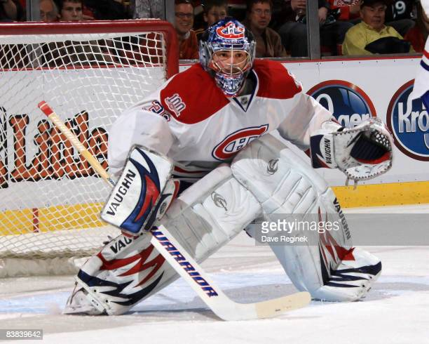 Carey Price of the Montreal Canadiens gets set for a shot during a NHL game against the Detroit Red Wings on November 26 2008 at Joe Louis Arena in...