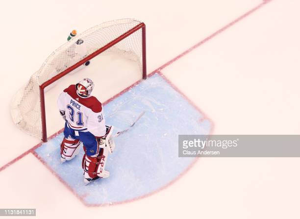 Carey Price of the Montreal Canadiens gets set for action against the Toronto Maple Leafs in an NHL game at Scotiabank Arena on February 23 2019 in...