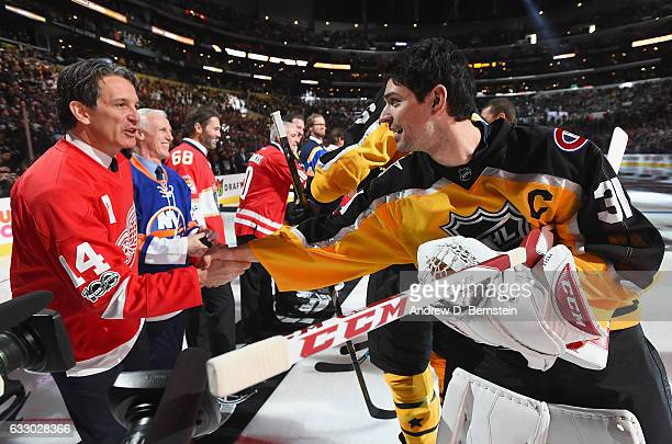 Carey Price of the Montreal Canadiens greets former NHL player Brendan Shanahan prior to the 2017 Honda NHL AllStar Game at Staples Center on January...