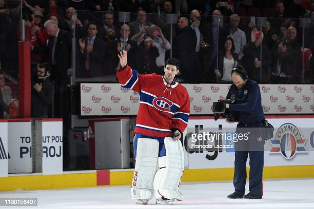 Carey Price of the Montreal Canadiens greets the fans after being chosen the first star of the game against the Detroit Red Wings in his 315th NHL...