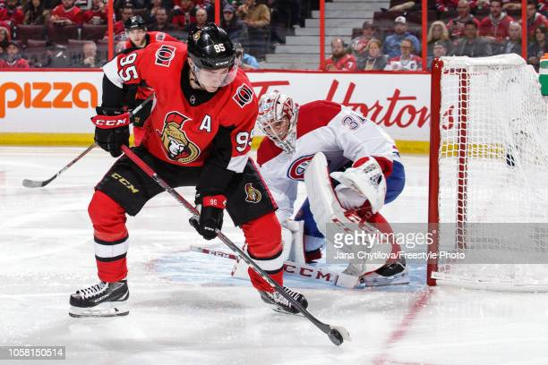 Carey Price of the Montreal Canadiens guards the net against Matt Duchene of the Ottawa Senators at Canadian Tire Centre on October 20 2018 in Ottawa...