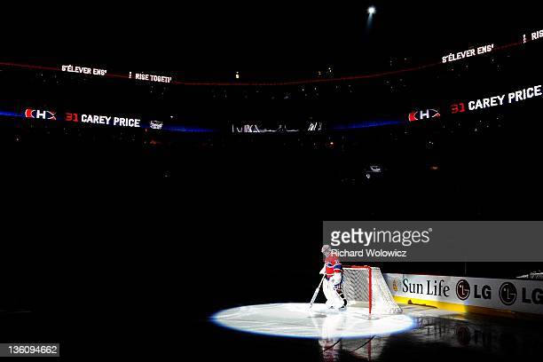 Carey Price of the Montreal Canadiens is introduced during pre-game ceremonies during the NHL game against the Carolina Hurricanes at the Bell Centre...