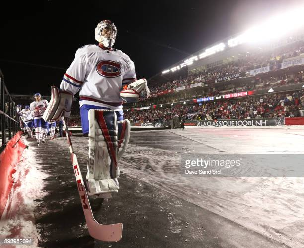 Carey Price of the Montreal Canadiens leaves the ice after the second period in a game against the Ottawa Senators during the 2017 Scotiabank NHL100...