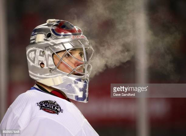 Carey Price of the Montreal Canadiens looks on in a game against the Ottawa Senators during the 2017 Scotiabank NHL100 Classic at Lansdowne Park on...