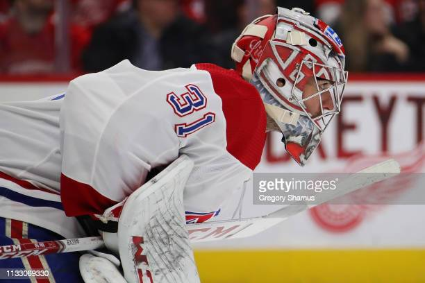 Carey Price of the Montreal Canadiens looks on while playing the Detroit Red Wings at Little Caesars Arena on February 26 2019 in Detroit Michigan