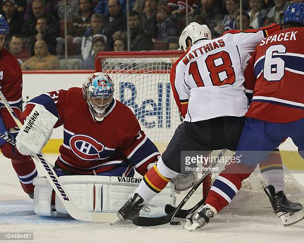 Carey Price of the Montreal Canadiens makes a first period save against Shawn Matthias of the Florida Panthers at the Bell Centre on September 27...