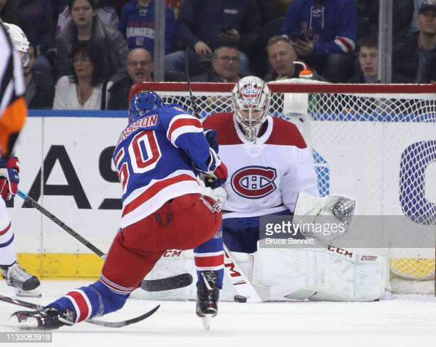 Carey Price of the Montreal Canadiens makes the first period save on Lias Andersson of the New York Rangers at Madison Square Garden on March 01 2019...